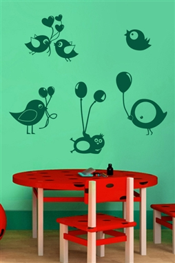 Wall Decals  - Bird Ballons