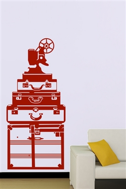 Red Luggage Vintage Wall Decals