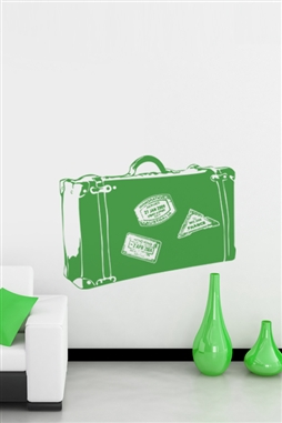 Green Luggage Vintage Wall Decals