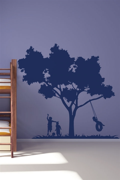 Kids Play Tire Swing Nursery Classroom Wall Mural, 32 Colors - 6 sizes | WallTat.com