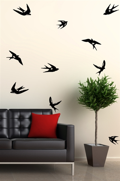 Birds flying silhouette swallows Wall Decals