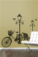 Vintage Bicycle & Street Lamp Travel Wall Decal LG 32 colors- 6 sizes | Walltat.com