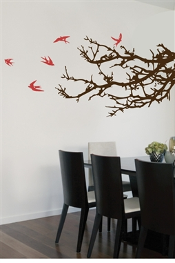Wall Decals Tree Branches and Flying Barn Swallows