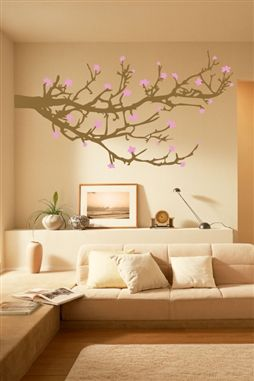 Wall Decal Cherry Blossom Tree Branch Zen Spa Yoga Illustration
