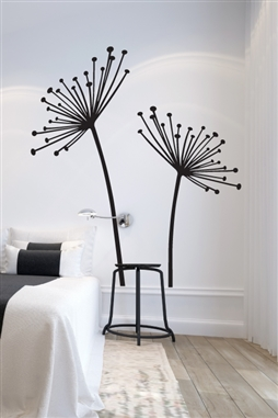 "Dandelion & Cow Parsley Wall Decal, Large. Dandelion & Cow Parsley Silhouette Farmhouse wildflowers wall mural for bedroom, nursery, entry, dining room, living room, office. 32 colors & 6 sizes, up to extra large 96"" tall! Walltat.com Free Shipping!"