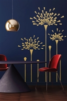 Art Deco Floral Geometry Dandelion Large Wall Decals, 32 Colors - 6 Sizes | WallTat.com