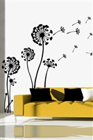 Wall Decals dandelion flower blowing in breeze silhouette