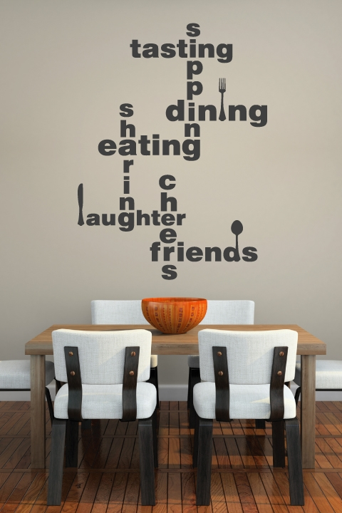 Dining lingo wall decal lettering walltat for Dining area wall ideas
