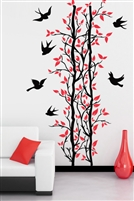 Wall decal Modern Tree Trellis, Vines & Birds Vertical illustration