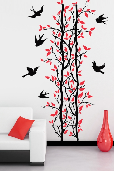 Branch With Flying Birds Decal Birds Wall Decals - Wall decals birds