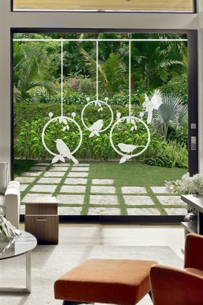Glass Decals Bird Hoops Staggered
