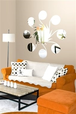 Wall Decals  Line & Circle Mirror -Reflective Decals