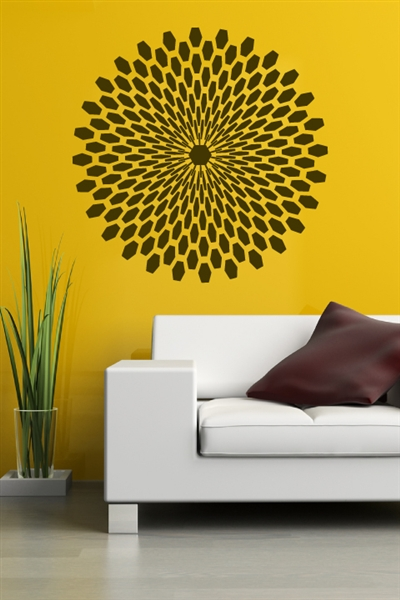 Mid-century Sunburst Wall Decal, 32 Colors 6 sizes | Walltat.com DIY mid-century modern wall art; our Modern Starburst Wall Decal is a round geometric design, in 6 large sizes and 32 colors. Free Shipping!