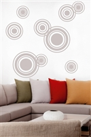 Modern Circle, Bubble & Dot Wall Decals, kids room, beach house, bathroom, fitness center, classroom; 32 Colors & Metallics | Walltat.com reate a bubble mural with the concentric circles and dots. Free Shipping!
