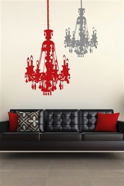 Vintage Chandelier Wall Decal in 32 colors, gold & chrome; Bohemian Paris decor for a princess; living room, bedroom, dorm room, salon, or restaurant; large sizes. Walltat.com