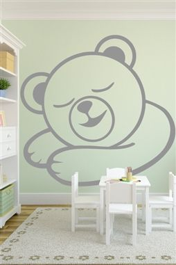Baby Wall Decals -Sleepy Bear mural large