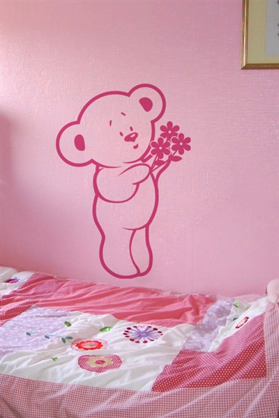 Baby Wall Decals -Bear with Flowers
