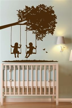Wall decal Kids On Tree Swings Nursery & Kids Farmhouse Mural Silhouette
