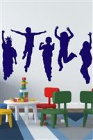 Kids Wall Decals, Kids at Play silhouette, large life size mural Walltat.com