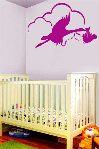 Stork and Baby Vinyl Nursery Decal