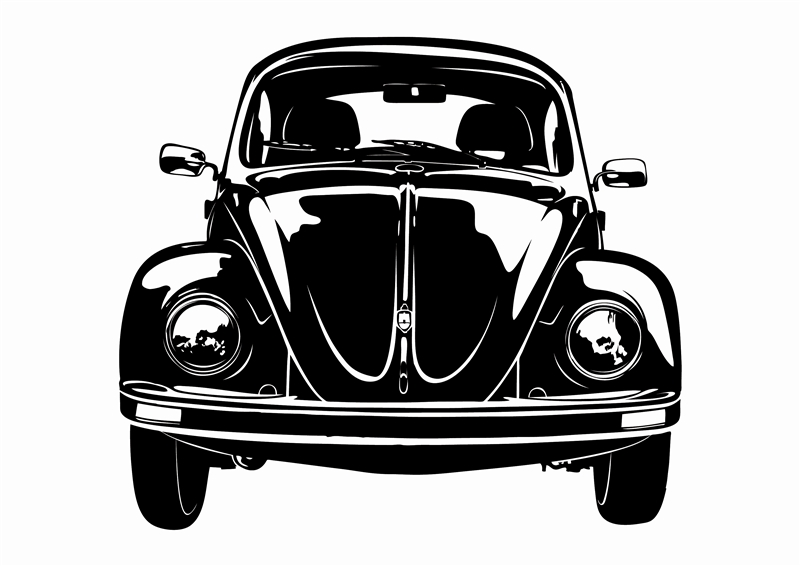 Vw bug front wall decal