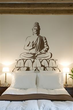 Seated Buddha Meditation Yoga Spa Restaurant Wall Mural, 32 Colors - 6 sizes | WallTat.com