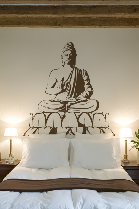 Seated Buddha Meditation Wall Decal, LG 32 Colors
