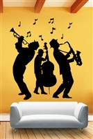 Jazz Musicians 3 Piece Band Wall Mural Decal, life-size saxophone trumpet 32 Colors - 6 Sizes | WallTat.com