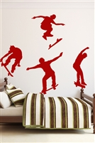 Skateboard Tricks Set of 4 Wall Decals 32 Colors & Metallics | Walltat.com