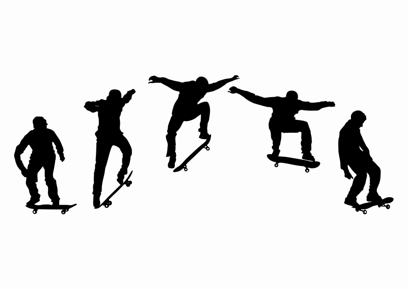 Skateboard sequence wall decal