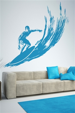 Surfer On Wave Wall Decal Mural, LG 32 Colors resort beach condo bedroom decor
