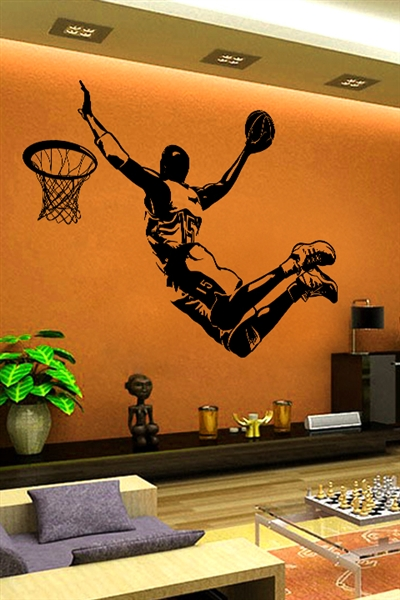 Wall Decals Slam Dunk Basketball player silhouette, large mural