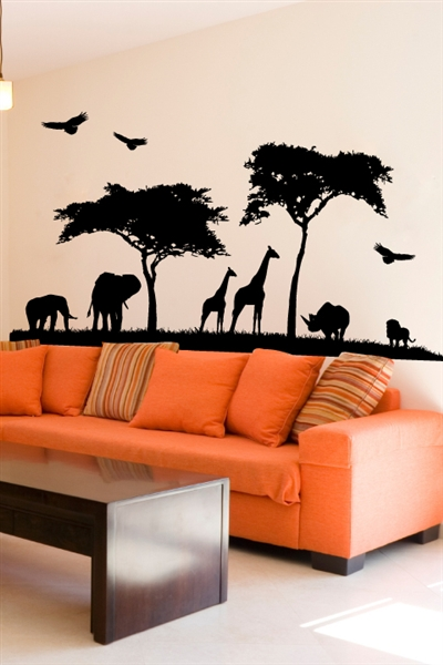 Wall Decals African Safari Silhouette Mural
