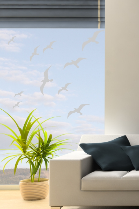 wall decals birds in flight frosted- walltat art without
