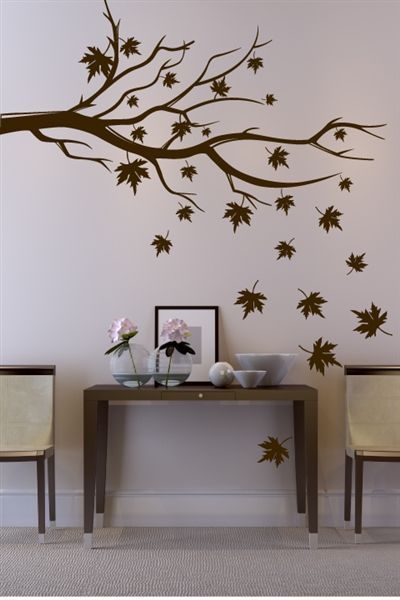 Zen autumn mural of a maple tree branch - 32 colors, gold or chrome.  Customize for a bedroom, living room, spa, restaurant, classroom or office. Walltat.com