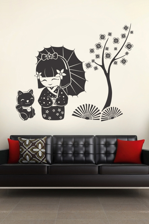 Wall Decals Kokeshi U0026 Cat Part 90
