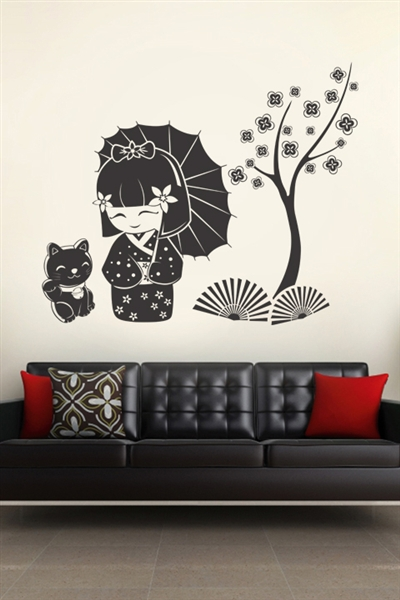 Wall Decals  Kokeshi & Cat