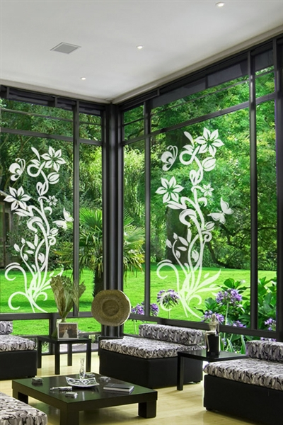 Glass Decals Upward Flower Right