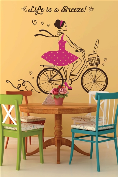 Wall Decals Girl Bicycling in Pretty Dress - Life is a Breeze!