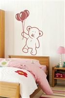 "Friendly Teddy Bear & Balloons gender-neutral wall mural for nursery, child's room, toddler, classroom. Custom colors & 5 sizes, up to XL 99"" high! Walltat.com"