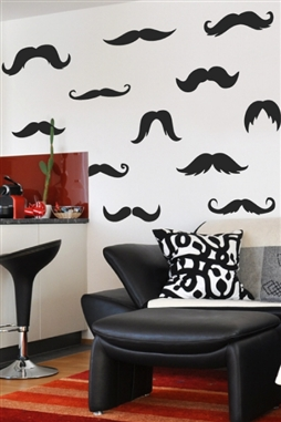 Ironic Mustache Wall Decals