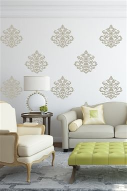 ... Damask Vintage Wall Decals ...