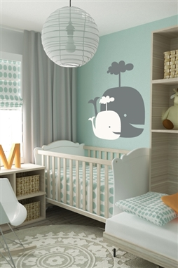 Wall decals two happy spouting whales nursery kids decor