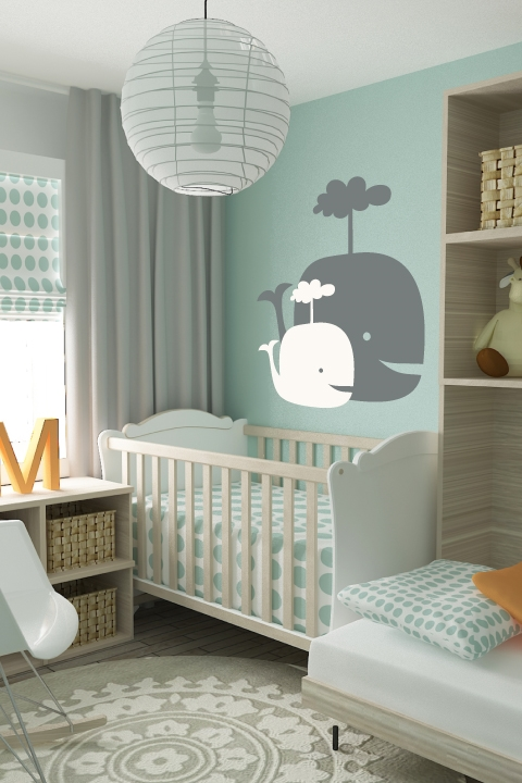 Spouting Whales Kids Nursery Wall Decal