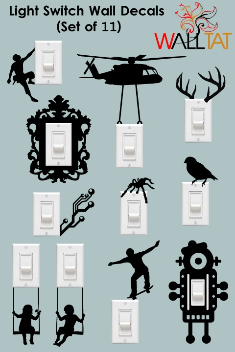 boy room ideas pictures - Light Switch and Outlet Wall Decals 11 Pack walltat