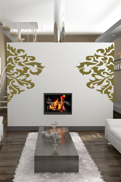 Large Damask Wall Decals