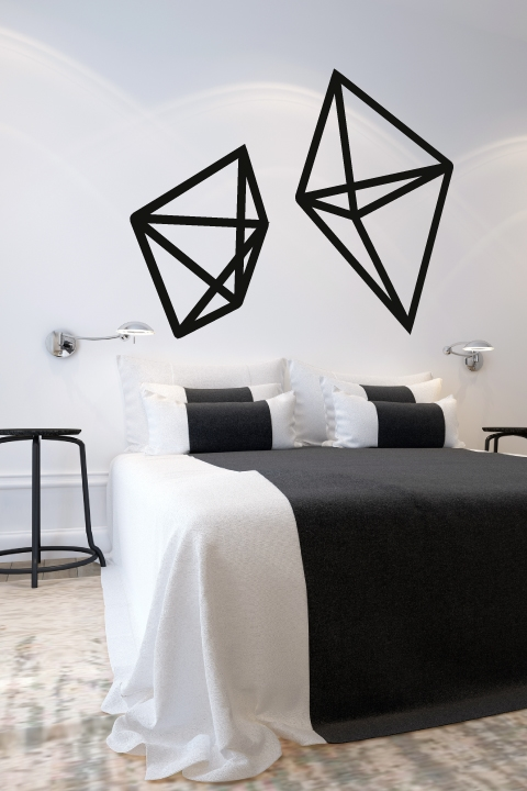geometric wire shapes wall decals - Simple Shapes Wall Design