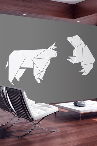 Bull Bear Origami Wall Decals