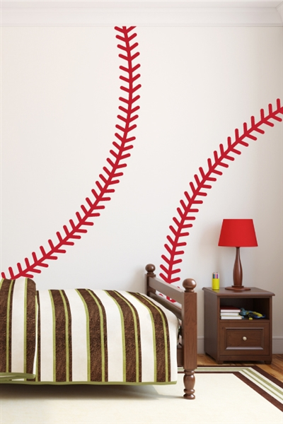 Baseball and Softball Stitches Large Wall Decals