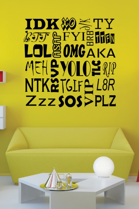 acronyms text wall decals, wall stickers art without boundaries